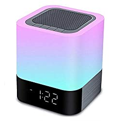 Night Lights Bluetooth Speaker,HoaBoly Alarm Clock Wireless Bluetooth Speakers,Touch Sensor Bedside Lamp,Color Changing Night Lights for Kids,MP3 Music Player, Speakerphone/TF Card/AUX-in Supported