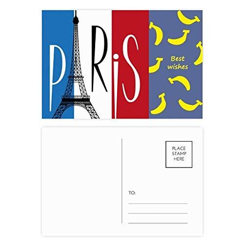 DIYthinker Nationale Vlag Frankrijk Eiffeltoren Parijs Banaan Postkaart Set Thanks Card Mailing Side 20 stks 5.7 inch x 3.8 inch Multi kleuren