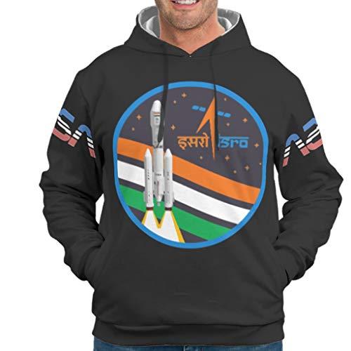 Dofeely ISRO India Rocket Tee Theme Jungen Männer Sweatshirts Kapuzenpullover Casual Mode Pullover Pulli Mit Taschen Tunnelzug S 5XL Best Gift for