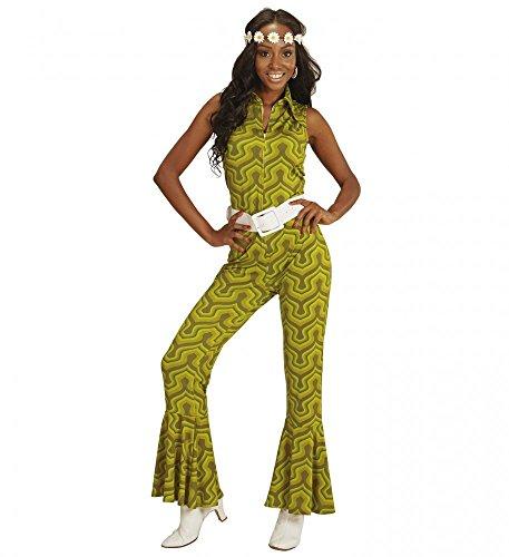 70er Jahre Retro JUMPSUIT mit Tapetenmuster Grün Disco Damen Kostüm Overall Siebziger Schlager 70's, Größe:M