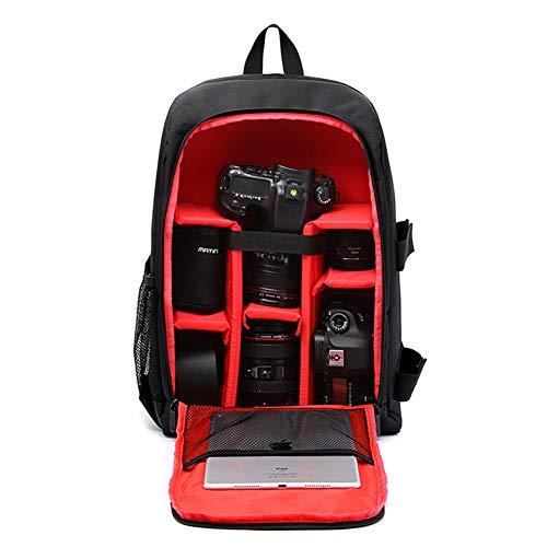 XMYL SLR Kamerarucksack im Freien Reisetasche Nylon Rucksack Kamera Fotorucksack mit Regenschutzhülle,für Canon Nikon Sony SLR Spiegelreflexkamera,Objektive und Zubehör,30 * 15.5 * 43cm,Rot