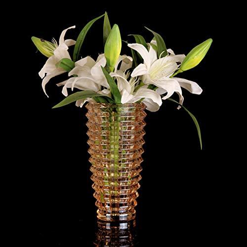 PLL Verdickung Amber Farbe Kristall Glasvase Europäischen Stil Wohnzimmer Glasflasche Trockene Blume Dekoration Wasser Kultur Vase