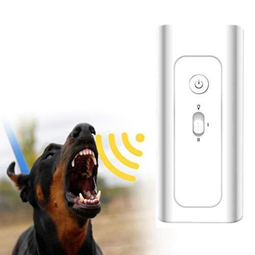 RXLLSY Dispositivo de Control de ladridos de Perro de Mano Dispositivo de Entrenamiento ultrasónico Controlador de ladridos de Perro ultrasónico con luz LED,Blanco