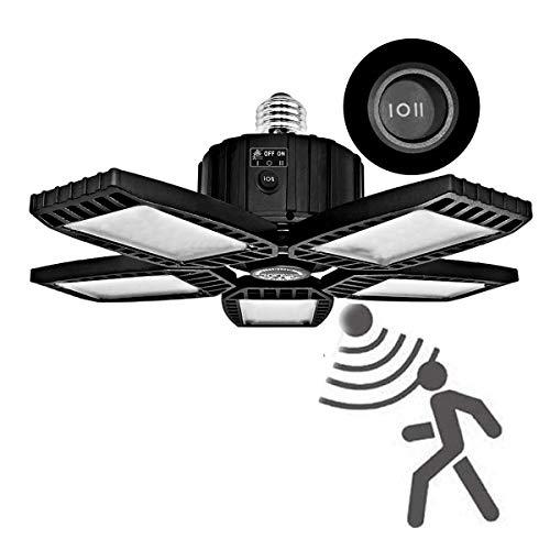 LED Garage Lights with Motion Sensor, 150W Deformable Garage Ceiling Light Fixture , 15000LM E26 Led Lights with Adjustable 5 Panels, Bright 6500K (Black, 150W(Motion Sensor))