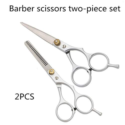 Juego de 2 tijeras de peluquería de acero inoxidable con mango suave, duradero, para cortar el pelo, para mujeres, hombres, mascotas, perros, profesionales, peluquería, peine y tijeras de peluquería
