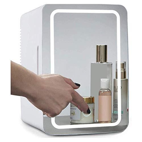 YFY 2-en-1 Espejo de Maquillaje Cuidado de la Piel Nevera con luz LED Compacto Nevera portátil for el Dormitorio Oficina del Dormitorio de Coches - Ideal Skin Care and Cosmetics