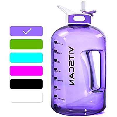 1 Gallon Water Bottle with Straw, Motivational Large Water Bottle with Time Marker, Big Clear Transparent Water Kettle Purple 128oz Water Bottles, Water Jug for Sports Water Bottle BPA Free