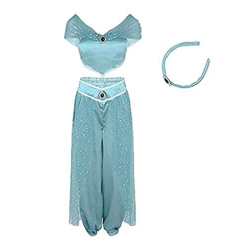 FeMereina Trajes de Cosplay de Princesa Jazmín para Mujer, Vestido de Danza del Vientre Anime Lamp Fiesta De Disfraces Traje De Aventura (Azul Claro, S)