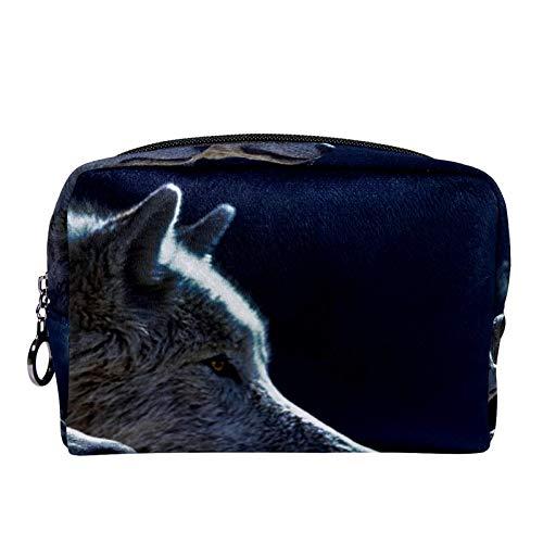 Bolsas de Maquillaje Estuche multifunción para Organizador de Bolsas de cosméticos de Viaje portátil Mes de Lobo con Neceser con Cremallera para Mujer