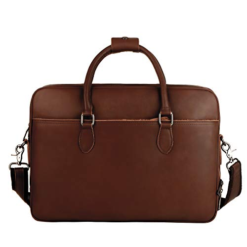 Leathario Mens Briefcase Bag Genuine Leather Handbag Laptop Bag Shoulder Bags Office Messenger Bag Spacious Cow Leather Work Muti-Compartment for Computer Notebook Tablet for Men