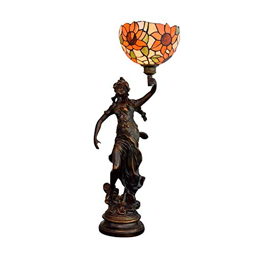 Handmade Stained Glass Table Lamp 8' Tiffany's stianed Glass Beautiful Table lamp American Rural Horn Sun Flower Retro Coffee bar Porch Bedroom Bedside lamp