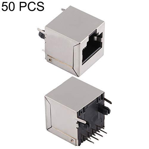 PAN-ES 50 PCS RJ45 180 Grados Conector de Paquete Completo de Enchufe Recto sin luz, Tipo H