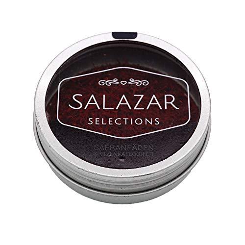 Salazar Safran 2g | 100% reine Safranfäden in Premium-Qualität Super Negin (2 Gramm) | Safran in Fäden verpackt in der schicken Dose