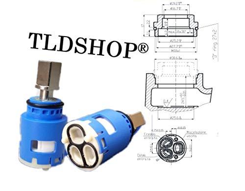 TLDSHOP - Cartuccia 25 mm di ricambio per miscelatore, Cartuccia a dischi ceramici versione aperta Diametro 25 mm (1)