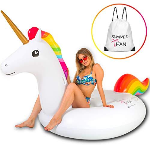 SummerFan Flatador Unicornio - Flotadores Gigantes, Hinchables para Piscina, Colchoneta Hinchable