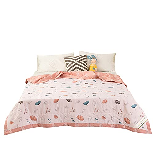 Colcha reversible Sideginkgo con estampado de hojas, 100% algodón, lavable a máquina, suave, cómoda, transpirable, puede dormir desnudo 200 x 230 cm