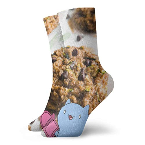 Kevin-Shop Chocolate Chip Zucchini Brot Haferflocken Kekse Kompressionssocken Crew Socken, Dünne Socken Kurzer Knöchel Athletic Moisture Wicking