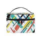 Bolsa de maquillaje, diseño de rayas geométricas de arte portátil estuche de viaje con impresión grande bolsa de cosméticos organizador compartimentos para niñas mujeres señora