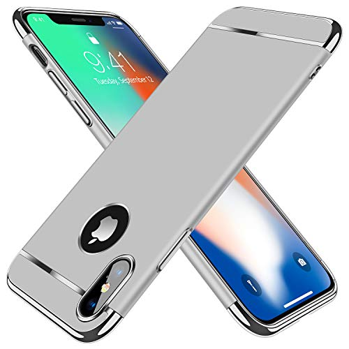 TORRAS Lock Series iPhone X Case/iPhone Xs Case 3-in-1 Luxury [3rd Generation] Anti-Scratch Hard Cover with Electroplated Frame Case for iPhone Xs/X, Silver
