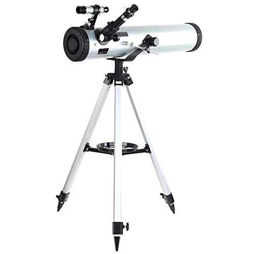 MAZ Telescopios Telescopio Astronómico Al Aire Libre Performance 700-76 Reflector Telescopio Astronómico con Trípode de Aluminio Ajustable de Montaje Azimutal para Principiantes para Niños