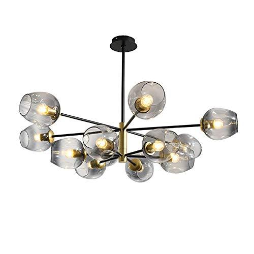 WEM Lámpara de Araña Sputnik Moderna, Lámpara de Techo/Lámpara Nórdica Starburst, Lámpara Colgante Industrial de 5 Luces, Lámpara de Techo con Esfera de Vidrio para Pasillo, Bar, Restaurante, Coñac