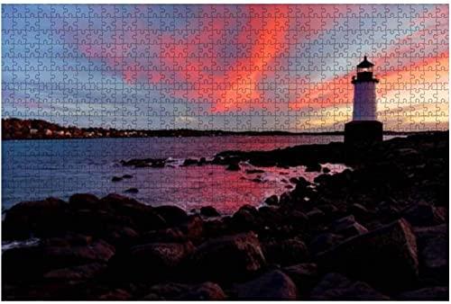 500 piezas-Fort Pickering Lighthouse en Salem Masschusetts Lighthouse Stock Rompecabezas de madera DIY Niños Rompecabezas educativos Regalo de descompresión para adultos Juegos creativos Juguetes Rom