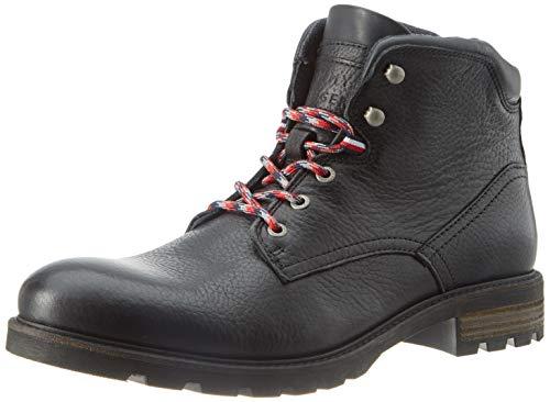 Tommy Hilfiger Herren Winter Textured Leather Boot Klassische Stiefel, Schwarz (Black 990), 42 EU