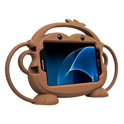 Estuche para niños para Samsung Galaxy Tab 3/4/A/E Lite 7 Pulgadas Tablet,CHINFAI Cartoon Double-Faced Monkey Silicone Handle Stand Protection Case para Samsung Modelo P3200 /T113/T230(Marrón)