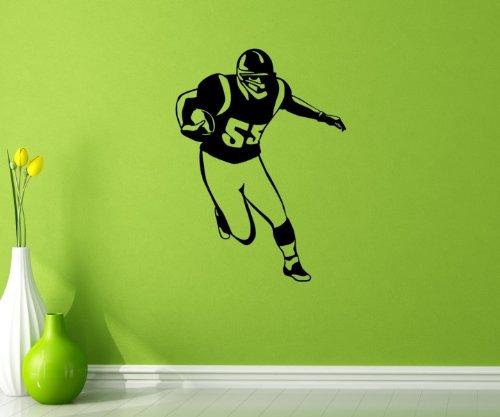 Wandtattoo American Football Fußball Spieler Aufkleber Wand Ball Portrait 5G001, Farbe:Weiß Matt;Hohe:60cm
