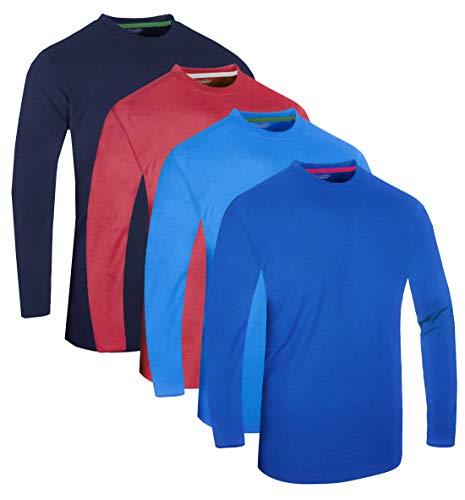 FULL TIME SPORTS® Tech 4 Pack Assorted Langarm-, Kurzarm Casual Top Multi Pack Rundhals Herren T-Shirts (Combo # 8) - (4 Pack - Dunkelblau-Hellblau-Wein-Marine, 3X-Large)