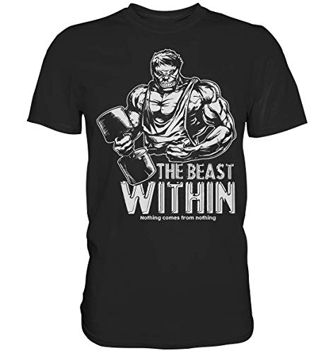 GREG PINE The Beast Within - Nothing Comes from Nothing   Fitness Bodybuilding Pumpen Kraftsport Posen Bodybuilder Motiv T-Shirt Herren Unisex