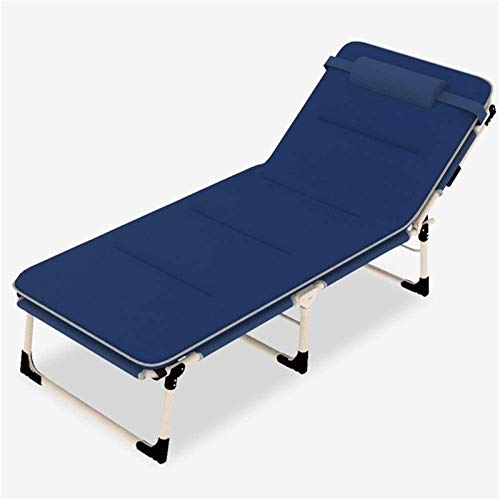 BBZZ Tumbona reclinable de metal, plegable, 193 x 68 x 30 cm, 150 kg máx. carga estática, resistente al óxido, sillas reclinables de jardín con cojín, ajuste de 4 posiciones
