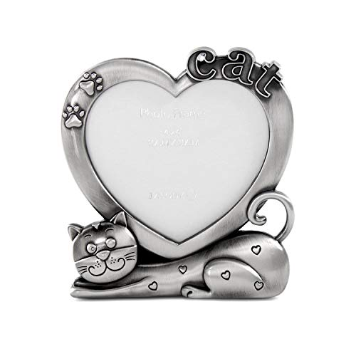 LASODY Zinc Alloy Sentiments Cat Picture Frame, Photo Gift for Pet Cat, Kitten, Display on Tabletop, Desk (Antique Silver)