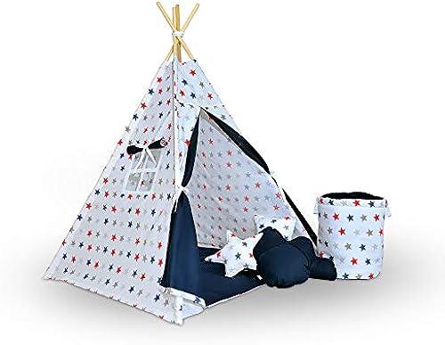 evama Exklusives Tipi -Wigwam und Kinderzelt-Spielzelt im Set (7tlg,) Indianerzelt für Drinnen und Draußen, Handarbeit