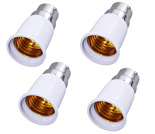 SHAFIRE B22 to E27 Base Socket Ceramic Lamp Holder Light Bulb Adapter Set of 4 - White