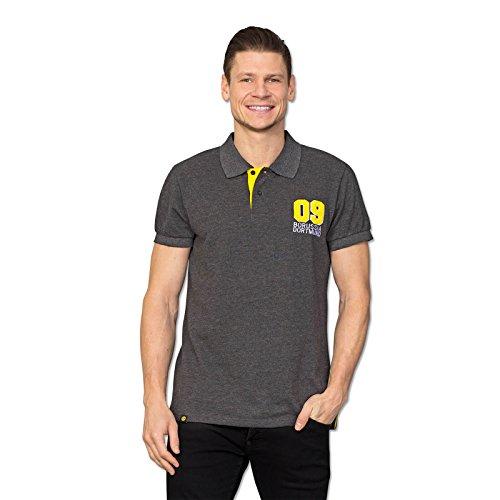 Borussia Dortmund BVB-Poloshirt, Schwarz meliert mit aufgenährter 09 & gelbem Detail an der Knopfleiste, 80% Baumwolle & 20% Polyester, S-3XL 3XL
