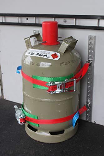 lasiprofi Gasflaschenhalterung Wohnwagen, Sprinter, LKW, Pkw, Wohnmobil mit vierkant Airlineschienen und Zwei 25mm Zurrgurte