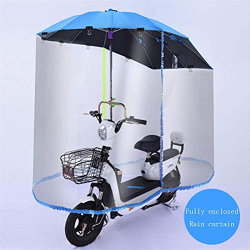 GFYWZ Elektrische Motorrad Regen Abdeckung, Motorrad Komplett Geschlossenen Schutz Baldachin, Elektrische Fahrrad Wasserdicht Sonnenschirm Regen Regen Regenschirm,Blau,C