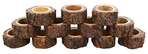 Ajuny Juego de 12 servilleteros decorativos hechos a mano de madera para cena, fiesta, decoración de mesa de 3,8 cm 🔥