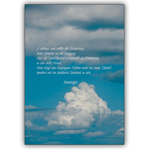 1 Trauerkarte: Tröstende Bonhoeffer Trauerkarte: Je schöner und voller die Erinnerung! – einfühlsame Beistandskarte um im Sterbefall in tiefer Trauer zu kondolieren
