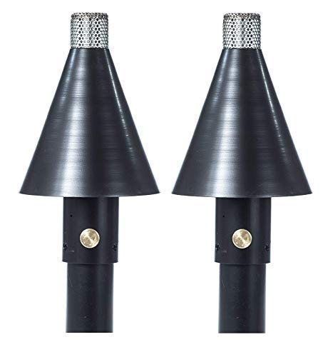 """Big Kahuna Gas Tiki Style Torch - Exotic Propane or Natural Gas Lamp Includes a 82"""" Black Steel Pole for Easy Set Up - Permanent Outdoor Lights are Great for Landscape Lighting, Set of 2 (Black Cone)"""