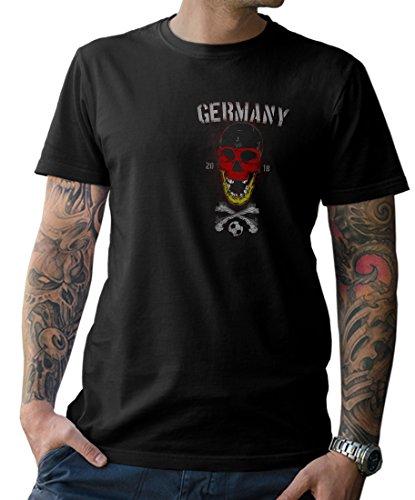 NG articlezz T-Shirt Herren – Deutschland Skull Fußball – Front- und Rückenprint WM 2018 Gr. S-5XL