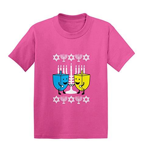 Happy Dreidels - Ugly Hanukkah Sweater Infant/Toddler Cotton Jersey T-Shirt (Pink, 12 Months)