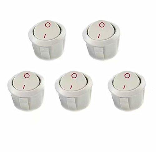 Waymeduo Interruptor basculante SPST redondo,de encendido/apagado (6 A - 125 V CA, 3 A - 250 V), en paquete de 5 unidades
