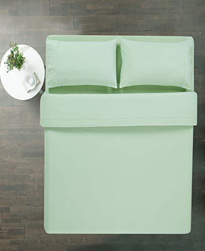 100% Cotton 4 Piece Flannel Sheets Set - Deep Pocket - Warm - Super Soft - Breathable Bedding (Light Green, Queen)