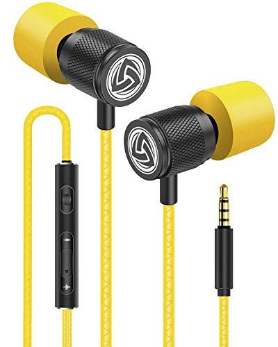 LUDOS Ultra Auriculares con Micrófono y Cable, Máxima Comodidad, Sonido Cristalino, Agudos y Graves Equilibrados, Nueva Espuma Viscoelástica, Cable Duradero, Graves, Control de Volumen