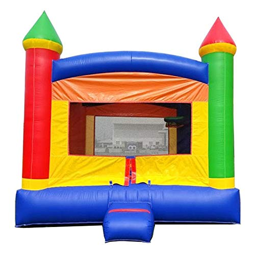 Rainbow Castle Inflatable Bounce House - 13' x 12' Foot Bouncy Area - Crossover Backyard Bouncer (Without Blower)