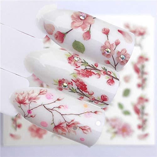Artificiel faux ongles 1 PC été fleur série ongles eau décalcomanies mignon chat motif transfert autocollant flamant rose fruits Nail Art décoration-YZW-3110-,