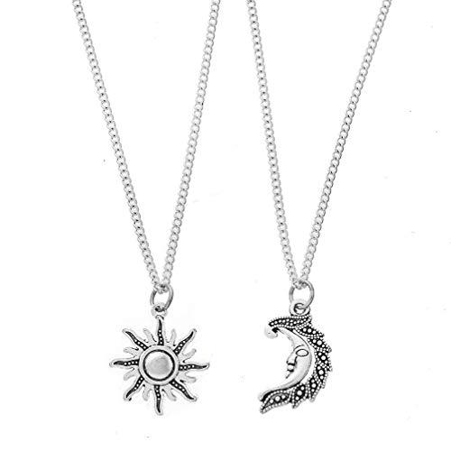 MJARTORIA Best Friend Necklaces Friendship Necklaces BFF Silver Key Pendant Necklace Friendship Accessories Girls Jewelry (Silver-Moon)