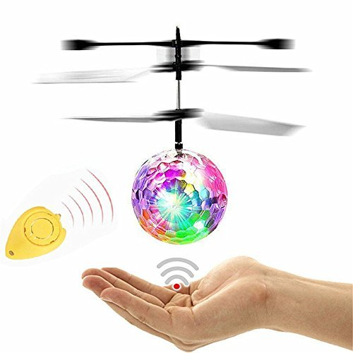 Flying Ball, RC Flying Toy, Boy Toys, WINONE Infrared Induction Drone Remote Control Helicopter Ball with Rainbow Shining LED Lights and Remote Control for Kids, Gifts for Boys and Girls,Outdoor Games